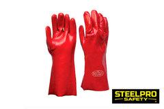 Guante PVC 14 -35Cms Rojo - Steelpro