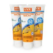 PACK 3 UNIDADES DE PROTECTOR SOLAR UVX 50+ 120G PREMIUM