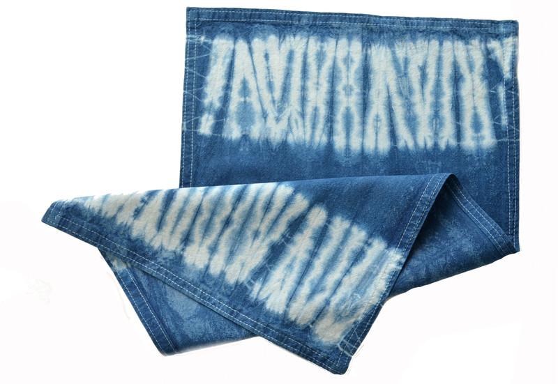 Individual o paño en algodón teñido con índigo - Amarras bordes