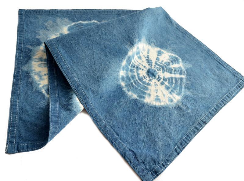 Individual o paño en algodón teñido con índigo - 2 círculos