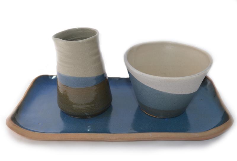 Alcuza bandeja rectangular -  Azul y blanco