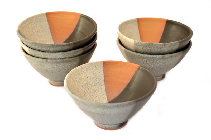 Juego 6 pocillos en cerámica gres