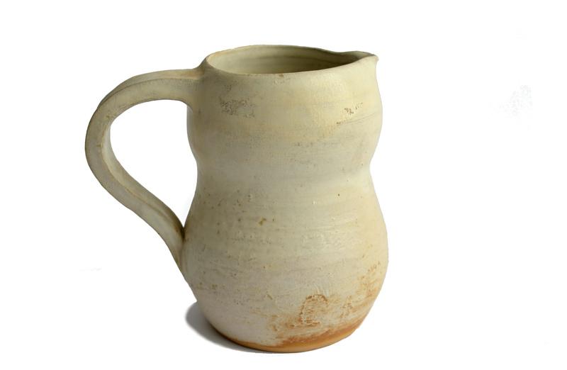 Jarra de cerámica gres color marfil