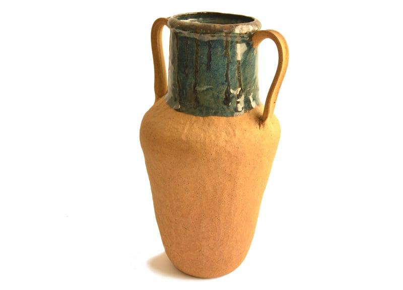 Vasija decorativa raku turquesa