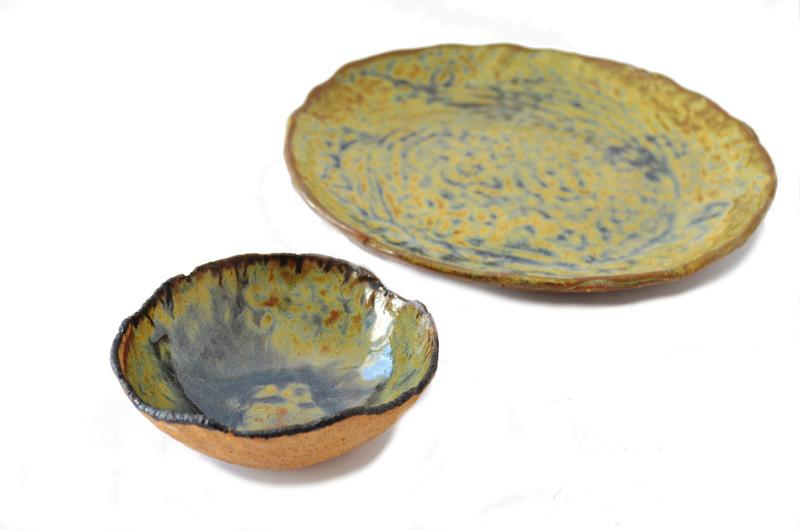 Bandeja decorativa cerámica gres - Oro y mostaza