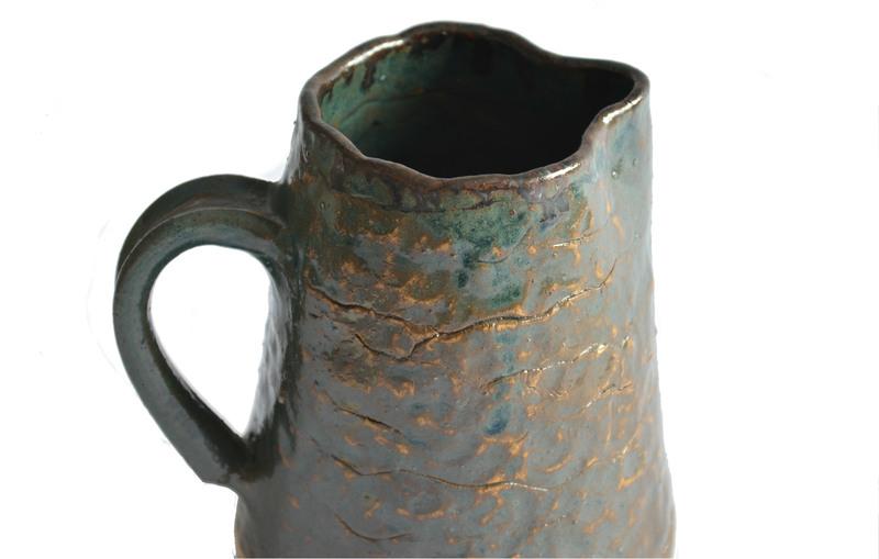 Jarra cerámica gres verde y tierra - Colección