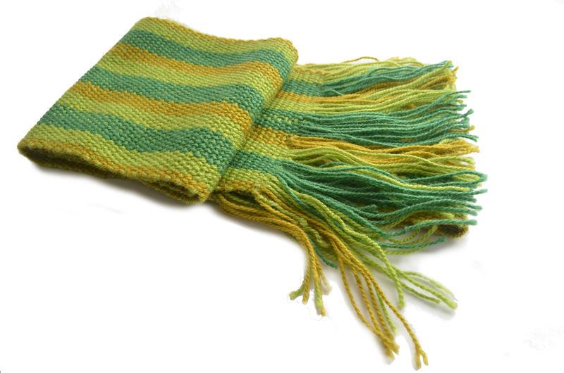 Bufanda de lana en 3 verdes