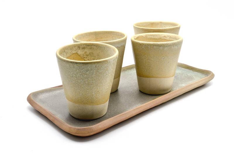 Set 4 vasos bandeja verde agua