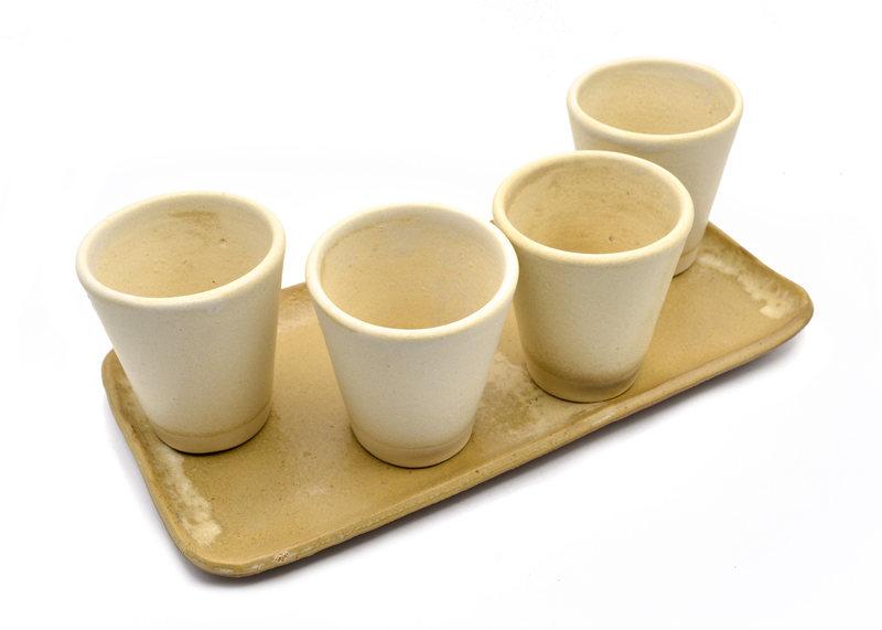 Set 4 vasos bandeja beige natural