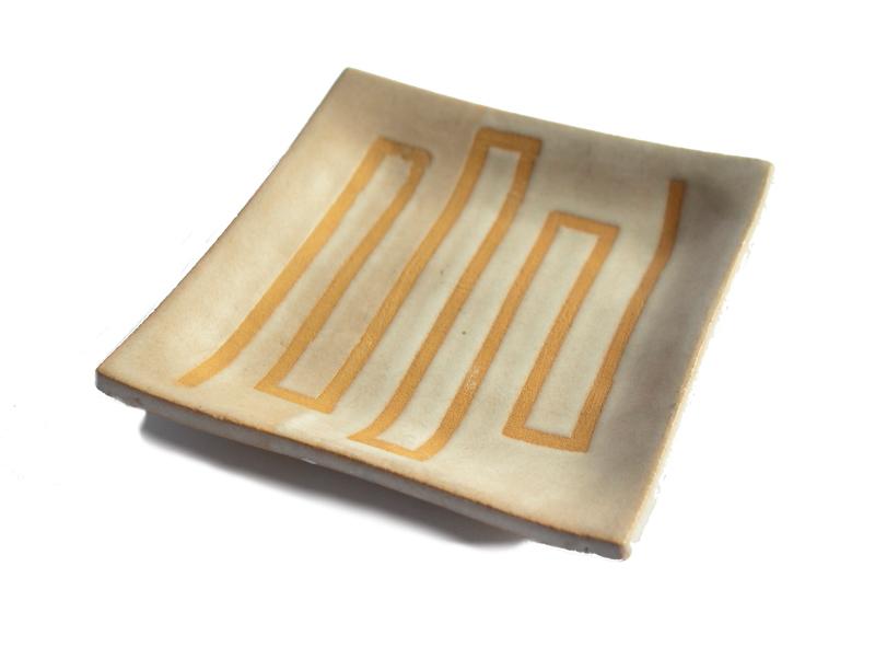 Platito decorativo diseño geométrico en gres