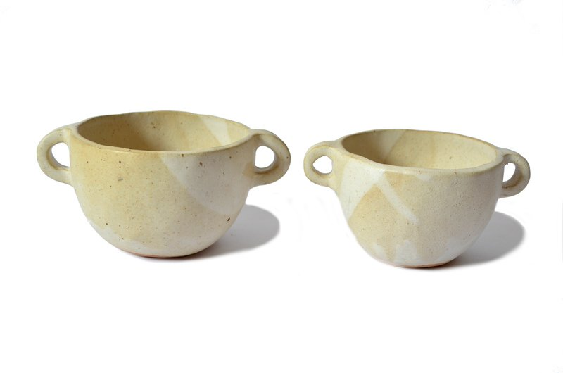 Set pocillos con asas cerámica color marfil