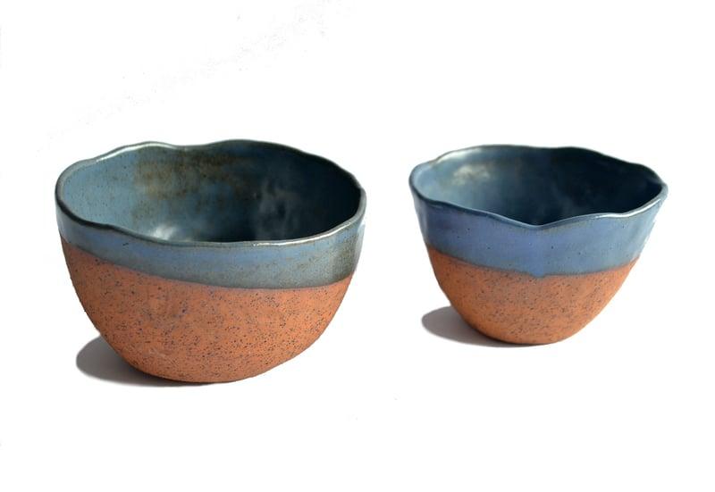 Set 2 pocillos decorativos gres y jacinto