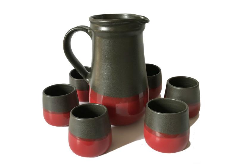 Juego pisco sour cerámica gres negro y rojo