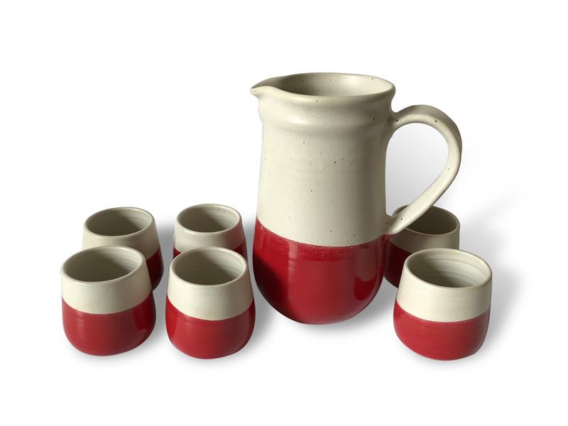 Juego pisco sour cerámica gres blanco y rojo