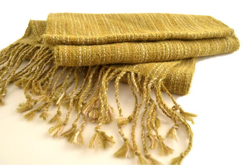 Bufanda alpaca verde musgo, teñido Ikat