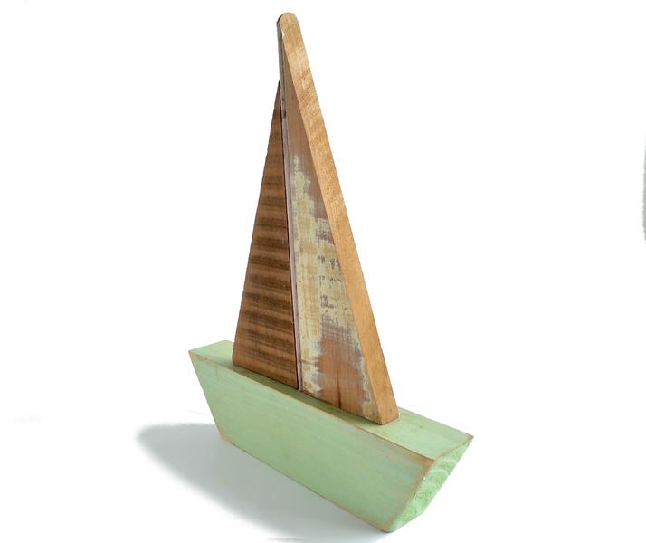 Velero en maderas recicladas - Aguamarina