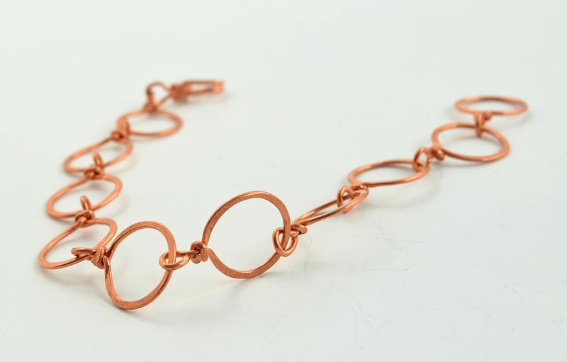 Pulsera argollas finas de cobre