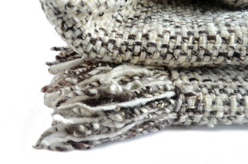 Piecera king punto doble lana gris natural