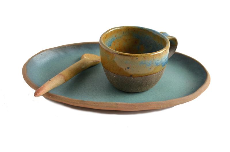 Set espresso turquesa y ámbar - Ovalado