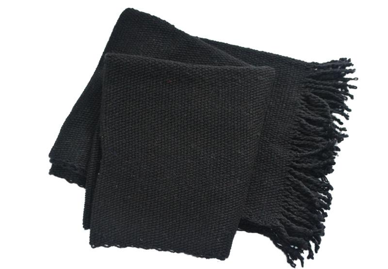 Chal o piecera negra en lana 100% natural de oveja