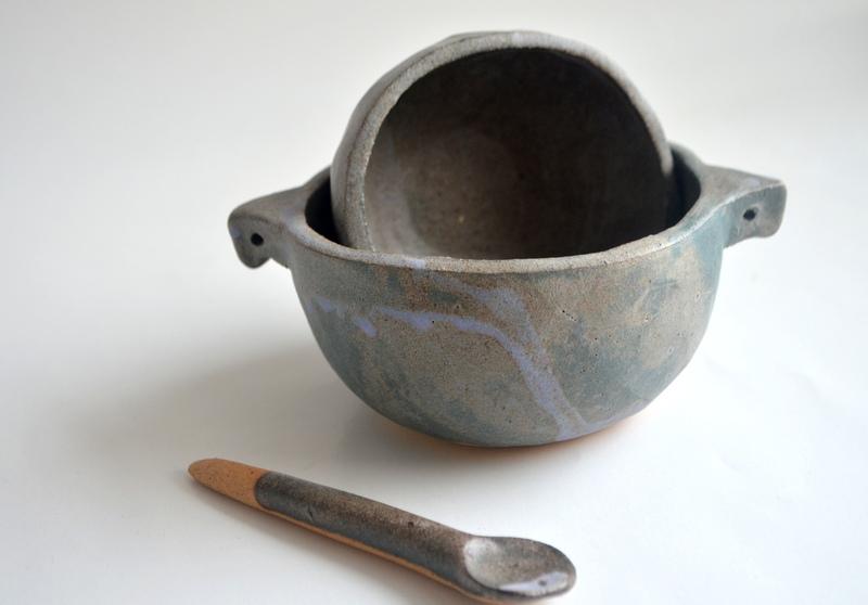 Set pocillos multiuso en cerámica gres gris acero
