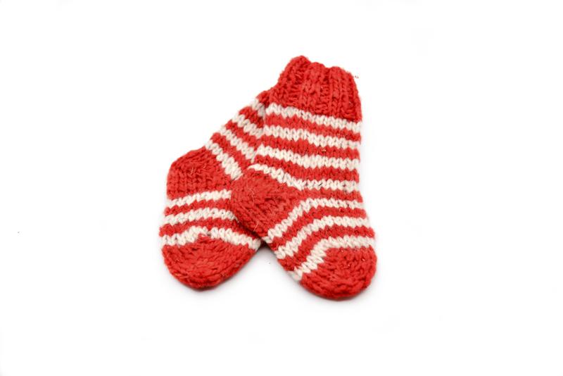 Par de calcetines niños en lana natural - Rojo y líneas blancas