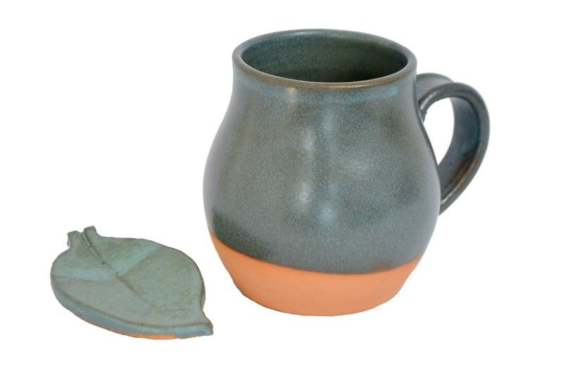 Tazón redondeado turquesa con hojita porta té