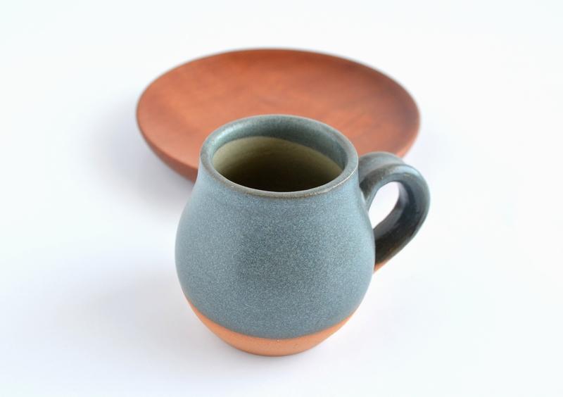 Set espresso raulí y cerámica gres en turquesa
