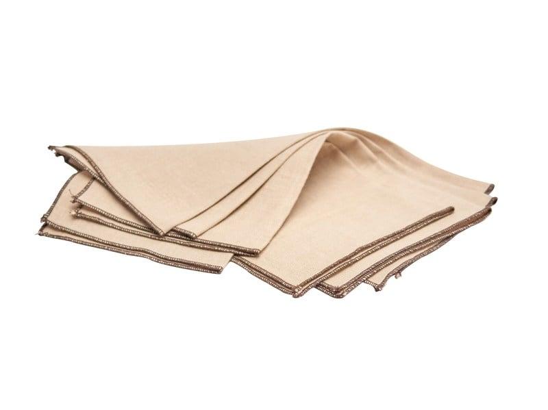 Set 4 servilletas de lino beige borde café moro