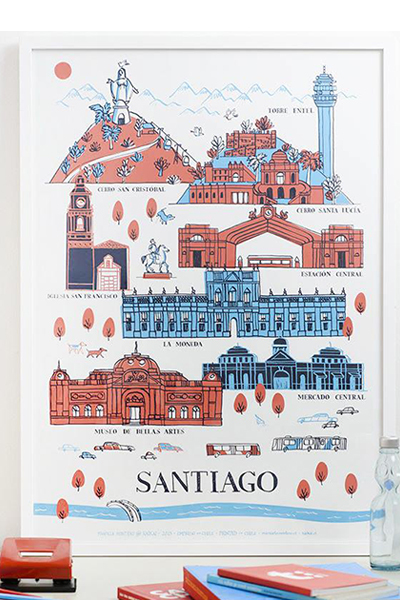 AFICHE SANTIAGO PATRIMONIAL (rojo-azul)