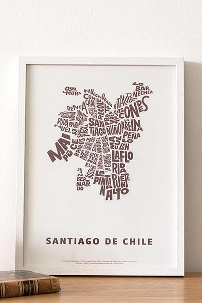 AFICHE SANTIAGO DE CHILE TIPOGRÁFICO