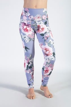 Leggins Regular Print Flower Lilac