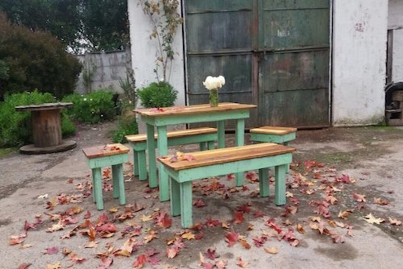 Juego de comedor de terraza de pallet terrazachic for Comedor para terraza
