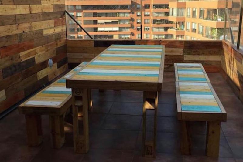 Juego de comedor de terraza de pallet - TerrazaChic