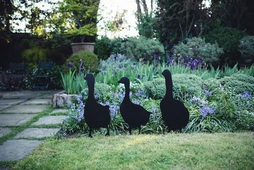 Escultura de fierro de tres gansos