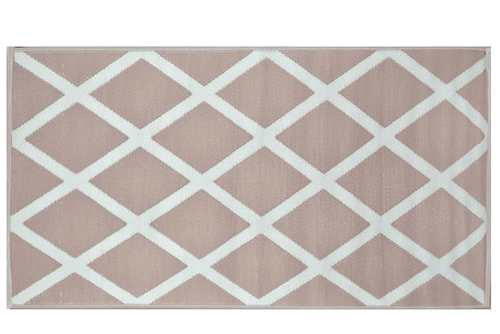 Alfombra PET diamante beige con blanco 120 x 180 cm