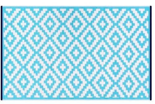 Alfombra PET rombos celeste con blanco 150 x 240 cm