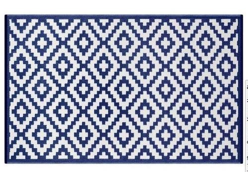 Alfombra PET rombos azul marino 150 x 240 cm