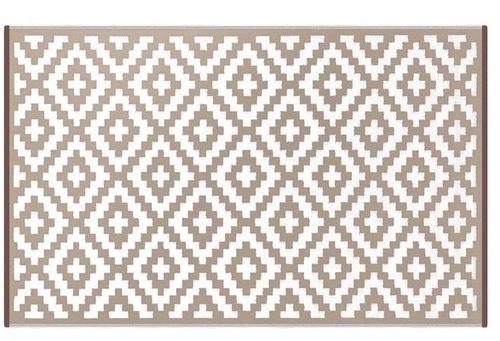 Alfombra PET rombos beige con blanco 180 x 270 cm