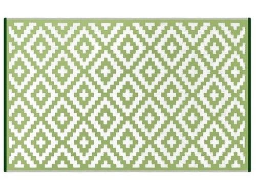 Alfombra PET rombos verde con blanco 150 x 240 cm