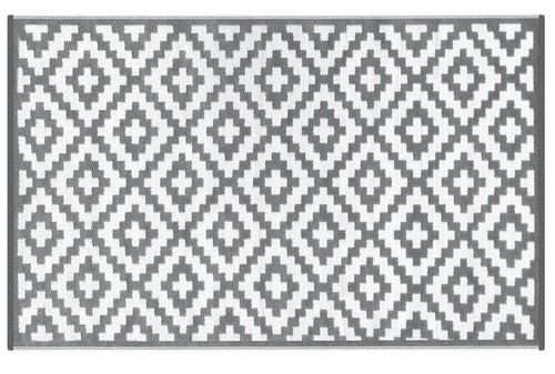 Alfombra PET de pasillo gris con blanco 70 x 180
