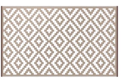 Alfombra PET rombos beige con blanco 120 x 180 cm
