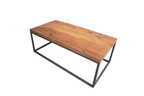 Mesa de centro de fierro y madera de roble