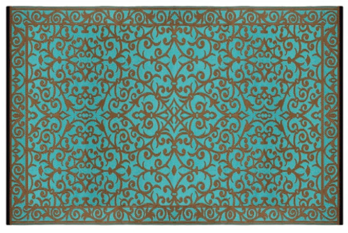 Alfombra PET turquesa con dorado Gala 150 x 240 cm
