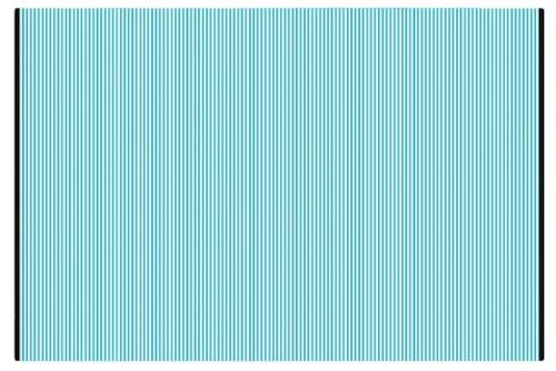 Alfombra PET a rayas turquesa con blanco de 120 x 180 cm