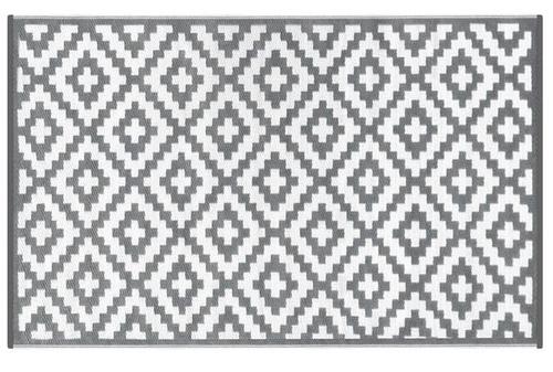 Alfombra PET rombos gris con blanco 90 x 150