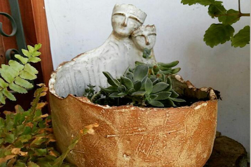 Macetero de cerámica de gres de pareja