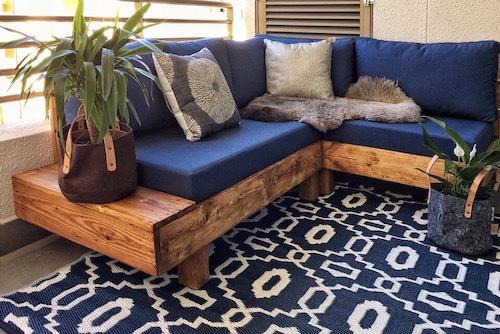 Terraza lista con alfombra de 120 x 180 cm
