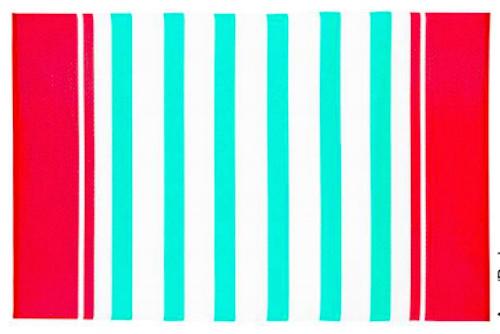Alfombra PET rayada turquesa y rojo 150 x 240 cm