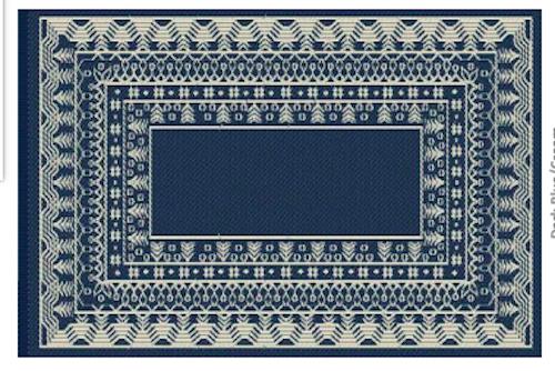 Alfombra PET modelo Fresco azul con blanco 150 x 240